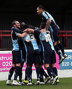 Aaron Pierre celebration scoring during the Sky Bet League 2 match between Dagenham and Redbridge and Wycombe Wanderers at the London Borough of Barking and Dagenham Stadium, London, England on 28 March 2015. Photo by Matthew Redman.