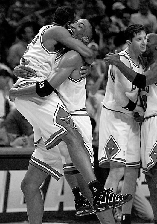 The Chicago Bulls celebrate after winning the 1996 NBA Finals.