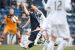 Falkirk's Conor McGrandles brought down for a penalty claim.<br /> Raith Rovers 2 v 4 Falkirk, Scottish Championship game today at Starks Park.<br /> © Michael Schofield.