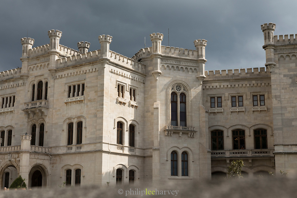 View of Miramare Castle under storm clouds, Trieste, Italy