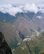 View of the Hidroelectrica (Hydroelectric Power Station) on the Vilcanota River from Machu Picchu. Llactapata is directly above the Hidroelectrica, at about the level of the clouds.