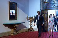 King Felipe VI of Spain, Queen Letizia of Spain attended an audience with Princesa de Asturias Awards 2017 winners at the Reconquista Hotel on October 20, 2017 in Oviedo, Spain.