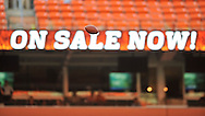 A football in the air before a preseason NFL football game on Saturday, August 29, 2009, at Cleveland Browns Stadium in Cleveland, Ohio. (AP Photo/David Richard)