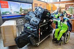 Manca Vida and Jernej Slivnik prior to the departure of Slovenian Paralympic team for Pyeongchang 2018 Winter Paralympics, on March 3, 2018 in Letalisce Jozeta Pucnika, Brnik, Slovenia. Photo by Vid Ponikvar / Sportida