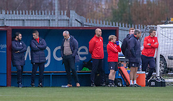 Falkirk's manager Ray McKinnon and the bench. Stenhousemuir 4 v 2 Falkirk, 3rd Round of the William Hill Scottish Cup played 24/11/2018 at Ochilview Park, Larbert.