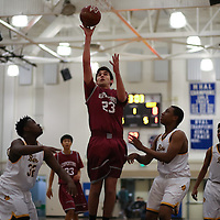 (Photograph by Bill Gerth for SVCN) Cupertino #23 Meelad Danai scores vs. Mission San Francisco boys basketball in the Fukushima Basketball Tournament at Independence High School, San Jose CA on 12/7/16.  (Mission San Francisco Cupertino )