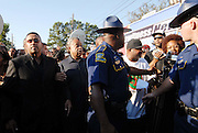 "Sep 20, 2007 - Jena, LA, USA - Louisiana State police attempt to push the media back in front of Rev. AL SHARPTON, MICHALE BAISDEN at the beginning of hte march to the Jena high school. The plight of the ""Jena Six"", a group of black teenagers who were initially charged with attempted murder after beating a white classmate, has provoked one of the biggest civil rights demonstrations in the US in recent years. Protesters converged on the small Louisiana town of Jena to demonstrate against what they said was a double standard of prosecution for blacks and whites. They came in their thousands, protesters from across the United States carrying banners and signs that declared ""Free the Jena six"" and ""Enough is enough"". (Credit Image: © Suzi Altman/ZUMA Press"