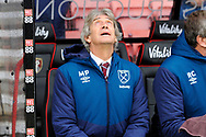 West Ham Utd manager Manuel Pellegrini looks up to the sky before during the Premier League match between Bournemouth and West Ham United at the Vitality Stadium, Bournemouth, England on 19 January 2019.