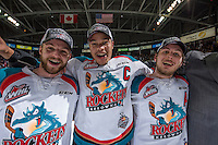 KELOWNA, CANADA - MAY 13: The Kelowna Rockets line up for the trophy presentation after winning the WHL championship game against the Brandon Wheat Kings on May 13, 2015 during game 4 of the WHL final series at Prospera Place in Kelowna, British Columbia, Canada.  (Photo by Marissa Baecker/Shoot the Breeze)  *** Local Caption ***