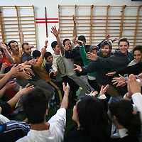 Members of Clowns Without Borders organization from Ireland train members of the Palestinian Circus School, Palestinian youth arriving from all over the West Bank, in Ramallah, January 22, 2010. Clowns Without Borders Ireland is a voluntary aid organisation which visits and performs for communities around the world that are under stress or in crisis due to disease, war or poverty..Photo by Michal Fattal/backyard