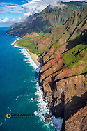 Aerial view of the Napali Coastline in Kauai, Hawaii, USA