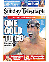 Michael Phelps had already become the greatest Olympian ever with his haul of gold medals at the Beijing Olympics following on from his domination in Athens. This win in the 100m Butterfly was special as he came from behind to somehow touch the wall first to defeat Laszlo Cseh of Hungary who was leading all the way till the last stroke. This win meant Phelps kept alive his chance of winning an unprecedented eight gold for the games. (Copyright Michael Dodge/Sunday Telegraph)