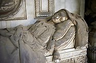 Picture and image of the stone sculpture of a dead women lying at rest in a realistic style. The Pignone Avanzini tomb sculpted by G Benetti 1867. Section D no 4, the monumental tombs of the Staglieno Monumental Cemetery, Genoa, Italy .<br /> <br /> Visit our ITALY PHOTO COLLECTION for more   photos of Italy to download or buy as prints https://funkystock.photoshelter.com/gallery-collection/2b-Pictures-Images-of-Italy-Photos-of-Italian-Historic-Landmark-Sites/C0000qxA2zGFjd_k<br /> If you prefer to buy from our ALAMY PHOTO LIBRARY  Collection visit : https://www.alamy.com/portfolio/paul-williams-funkystock/camposanto-di-staglieno-cemetery-genoa.html