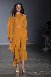 August 28, 2017 - Sao Paulo, Sao Paulo, Brazil - Model presents creation by Lilly Sarti during the Sao Paulo Fashion Week, N44 Summer 2018 edition, in Sao Paulo, Brazil. (Credit Image: © Paulo Lopes via ZUMA Wire)
