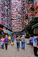 Chine, Hong Kong, Hong Kong Island, quartier d'habitation très dense, marché // China, Hong Kong, Hong Kong Island, densely crowded apartment buildings, vegetable market
