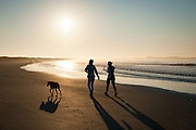 A walk in the early morning sunlight at Sachuest Beach, also known as Second Beach, in Newport, Rhode Island.