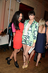 Left to right, SARAH JANE CRAWFORD and LILAH PARSONS at the Juicy Couture - Viva La Juicy perfume Party held at Home House, Portman Square, London on 30th May 2013.
