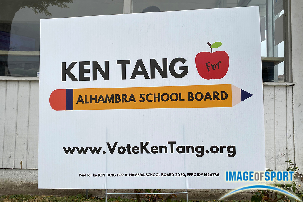 A sign endorsing the election of Ken Tang for Alhambra School Board, Saturday, Sept. 26, 2020, in Monterey Park, Calif.