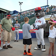Rocky, the New Britain Rock Cats mascot with fans during the New Britain Rock Cats Vs Binghamton Mets Minor League Baseball game at New Britain Stadium, New Britain, Connecticut, USA. 2nd July 2014. Photo Tim Clayton