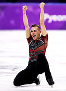 Adam Rippon of the United States competes during the Men's Single Skating Short Program at Gangneung Ice Arena on February 16, 2018 in Gangneung, South Korea.