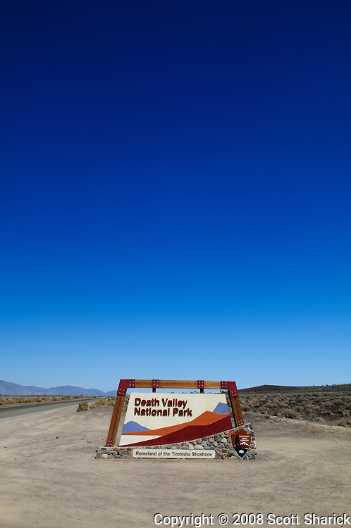 The welcome sign at the entrance of Death Valley National Park in California.