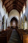 Historic interior of village parish church at Weybread, Suffolk, England, UK