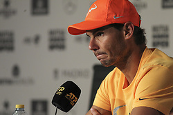 May 12, 2019 - Madrid, MADRID, SPAIN - Rafa Nadal (ESP) in press conference during the Mutua Madrid Open 2019 (ATP Masters 1000 and WTA Premier) tenis tournament at Caja Magica in Madrid, Spain, on May 11, 2019. (Credit Image: © AFP7 via ZUMA Wire)