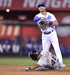 September 26, 2017 - Kansas City, Missouri, U.S. - Kansas City Royals second baseman WHIT MERRIFIELD forces out the Detroit Tigers' JEIMER CANDELARIO at second and completes the double play on James McCann in the second inning at Kauffman Stadium. (Credit Image: © John Sleezer/TNS via ZUMA Wire)