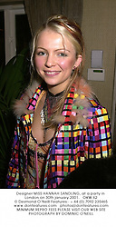 Designer MISS HANNAH SANDLING, at a party in London on 30th january 2001.OKW 62
