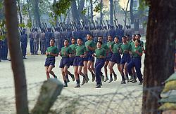 Nepalese police train early in the morning in Nepalganj, Nepal March 16, 2005. (Ami Vitale)