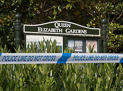 © Licensed to London News Pictures. 06/07/2018. Salisbury, UK. Police cordon tape remains in place around Queen Elizabeth Gardens in Salisbury town centre after couple, named locally as Dawn Sturgess, 44, and her partner Charlie Rowley, 45, were taken ill on Saturday 30th June 2018. Police have confirmed that the couple have been in contact with Novichok nerve agent. Former Russian spy Sergei Skripal and his daughter Yulia were poisoned with Novichok nerve agent in nearby Salisbury in March 2018. Photo credit: Peter Macdiarmid/LNP