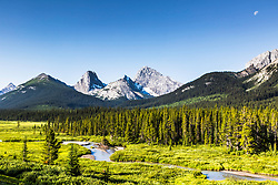 The Sprey River Valley in flowing through the amazing Kananaskis Country of the Canadian Rockies in Alberta Canada