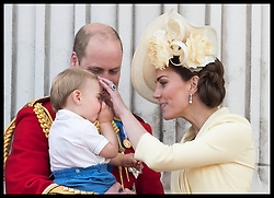 June 8, 2019 - London, London, United Kingdom - Image licensed to i-Images Picture Agency. 08/06/2019. London, United Kingdom. The Duke and Duchess of Cambridge with  Prince Louis as he sucks his thumb on the balcony of Buckingham Palace at Trooping the Colour in London. (Credit Image: © Stephen Lock/i-Images via ZUMA Press)