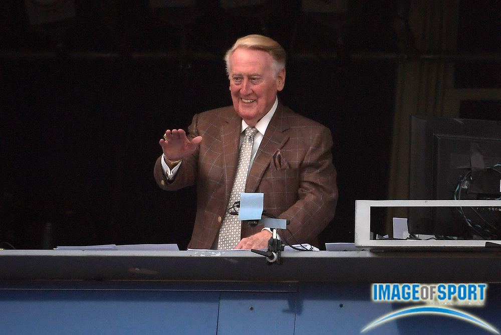 Sep 6, 2016; Los Angeles, CA, USA; Los Angeles Dodgers retiring broadcaster Vin Scully is recognized for his 67th and final season during a MLB game against the Arizona Diamondbacks at Dodger Stadium.