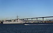 USA, California, San Diego USS Cleveland Coronado Bridge in the background