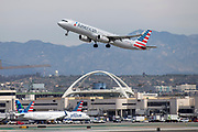An American Airlines A321 takes off from Los Angeles International Airport (LAX) on Friday, February 28, 2020 in Los Angeles. (Brandon Sloter/Image of Sport)
