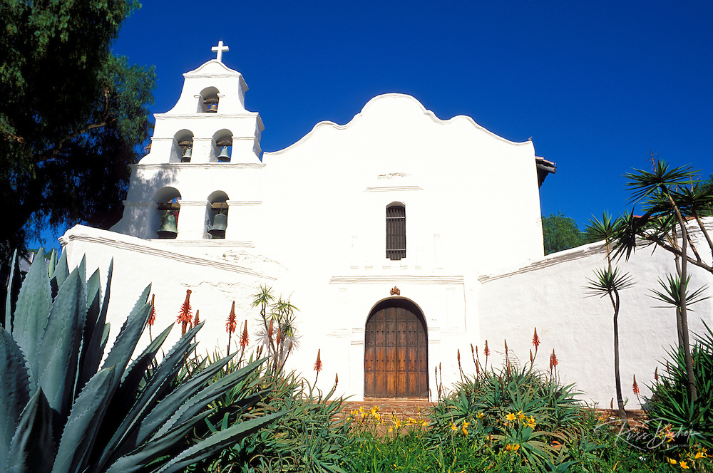 The white washed bell tower and entrance to Mission San Diego (California's first Mission), San Diego, California
