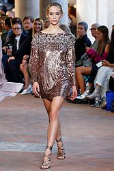 Model Hannah Ferguson walks on the runway during the Alberta Ferretti Fashion Show during Milan Fashion Week Spring Summer 2018 held in Milan, Italy on September 20, 2017. (Photo by Jonas Gustavsson/Sipa USA)