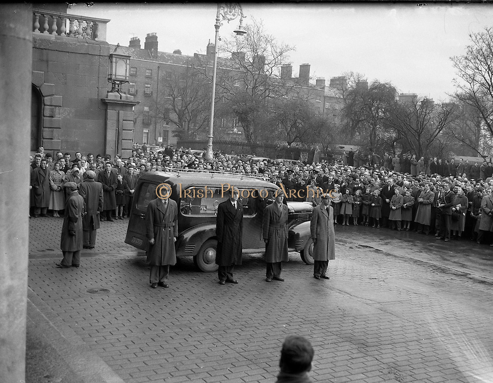 "Funeral of Sean South.04/01/1957..Seán South (1928–1 January 1957) was a member of an IRA military column led by Sean Garland on a raid against a Royal Ulster Constabulary barracks in Brookeborough, County Fermanagh, Northern Ireland on New Year's Day, 1957. South died of wounds sustained during the raid along with another IRA volunteer, Fergal O'Hanlon..Early life.Seán South was born in Limerick where he was educated at Sexton Street Christian Brothers School, later working as a clerk in a local wood-importing company called Mc Mahon's. South was a member of a number of organisations including the Gaelic League, Legion of Mary, Clann na Poblachta and Sinn Féin. In Limerick he founded the local branch of Maria Duce, a radical Catholic organisation, where he also edited both An Gath and An Giolla. He had received military training as a lieutenant of the Irish army reserve, the LDF which would later become the FCA (An Fórsa Cosanta Áitiúil or Local Defence Force), before he became a volunteer in the Irish Republican Army. ..Death.On New Year's Day 1957, fourteen IRA volunteers crossed the border into County Fermanagh to launch an attack on a joint RUC/B Specials barracks in Brookeborough. During the attack a number of volunteers were injured: two fatally. Fergal O'Hanlon and Seán South died of their wounds as they were making escape. They were carried into an old sandstone barn by their comrades, which was later demolished by a British army jeep. The stone from the barn was used to build a memorial at the site. ..Song.The attack on the barracks inspired two popular rebel songs: 'Seán South of Garryowen' and 'The Patriot Game '. .•.""Sean South"", also known as ""Sean South of Garryowen"", written by Sean Costelloe, County Limerick to the tune of another republican ballad ""Roddy McCorley""and made famous by the Wolfe Tones. The popularity of this song has led to the misconception that South was from Garryowen, a suburb in"