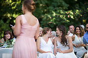 Brides celebrate their wedding with family and friends in Berkeley, California, on September 3, 2016. (Stan Olszewski/SOSKIphoto for Julie Weisberg)