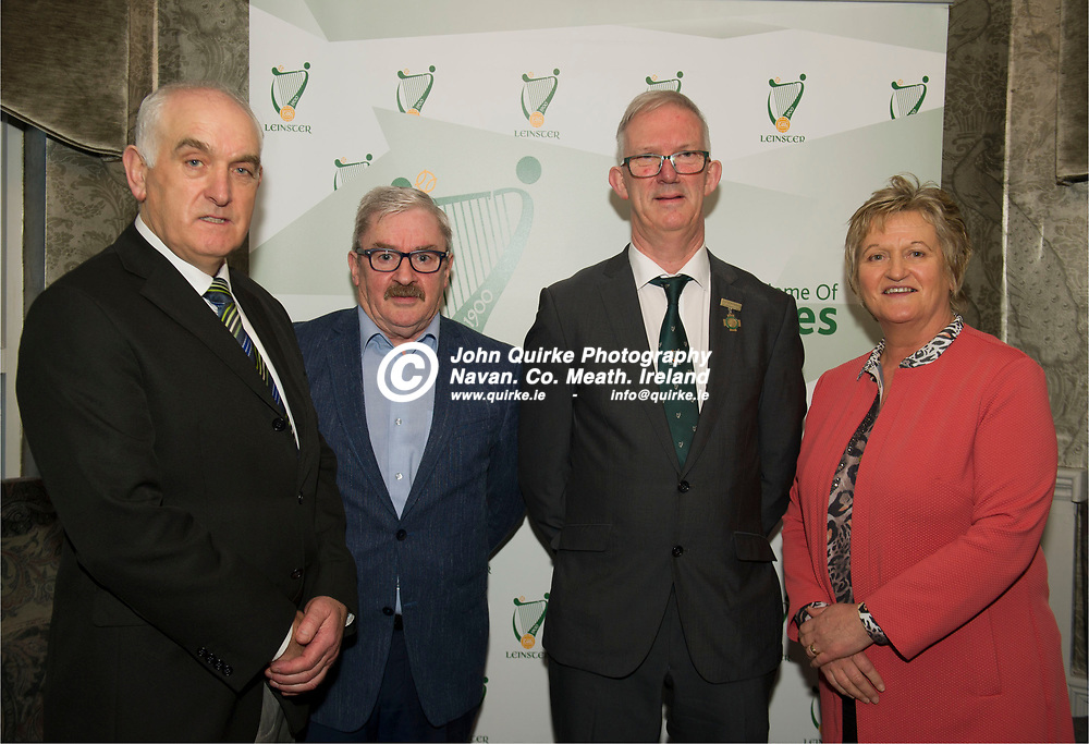 25-01-19. Leinster GAA Annual Convention 2018 at the Knightsbrook Hotel, Trim.<br /> Cathoirleach Pat Teehan pictured with Offaly Officials from left, Martin Cashin, Pat Horan and Dolores Slevin.<br /> Photo: John Quirke / www.quirke.ie<br /> ©John Quirke Photography, Unit 17, Blackcastle Shopping Cte. Navan. Co. Meath. 046-9079044 / 087-2579454.