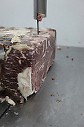 A chunck of red meat (beef) cut with a saw