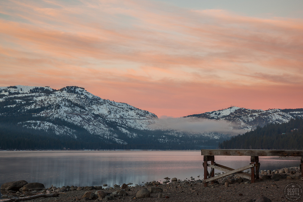 """""""Donner Lake Sunrise 10"""" - Photograph of a dock along the north shore of Donner Lake at sunrise."""