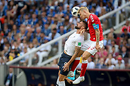 Olivier Giroud of France and Simon Kjaer of Denmark during the 2018 FIFA World Cup Russia, Group C football match between Denmark and France on June 26, 2018 at Luzhniki Stadium in Moscow, Russia - Photo Thiago Bernardes / FramePhoto / ProSportsImages / DPPI