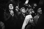 Tskhinvali residents listening to a speech by their re elected president Eduard Kokoity. Tskhinvali. 2006.