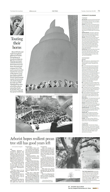 The Dallas Morning News -Metro, B7, December 25, 2012.