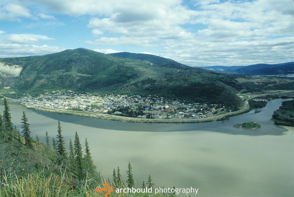 Aerial photo of Dawson City, Yukon, Canada