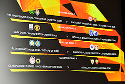 NYON, SWITZERLAND - Friday, July 10, 2020: The completed draw shown on a screen during the UEFA Champions League and UEFA Europa League 2019/20 draws for the Quarter-final, Semi-final and Final at the UEFA headquarters, The House of European Football. (Photo Handout/UEFA)