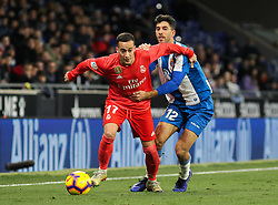 January 27, 2019 - Barcelona, BARCELONA, Spain - Lucas Vazquez of Real Madrid and Didac Vila of Espanyol in action during La Liga Spanish championship, , football match between Espanyol and Real Madrid,  January 27th, in RCDE Stadium in Barcelona, Spain. (Credit Image: © AFP7 via ZUMA Wire)