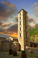 Romanesque chuch of Saint Eulalia, D'Erill La Val, Val de Boi, Alta Ribagorca, Pyranese, Spain. A UNESCO World Heritage Site .<br /> <br /> Visit our SPAIN HISTORIC PLACES PHOTO COLLECTIONS for more photos to download or buy as wall art prints https://funkystock.photoshelter.com/gallery-collection/Pictures-Images-of-Spain-Spanish-Historical-Archaeology-Sites-Museum-Antiquities/C0000EUVhLC3Nbgw <br /> .<br /> Visit our MEDIEVAL PHOTO COLLECTIONS for more   photos  to download or buy as prints https://funkystock.photoshelter.com/gallery-collection/Medieval-Middle-Ages-Historic-Places-Arcaeological-Sites-Pictures-Images-of/C0000B5ZA54_WD0s
